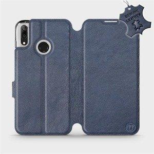 Luxusní flip pouzdro Mobiwear na mobil Huawei Y7 2019 - Modré - kožené -  L_NBS Blue Leather - výprodej