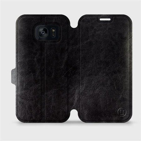 Parádní flip pouzdro Mobiwear na mobil Samsung Galaxy S7 Edge v provedení C_BLS Black&Gray s šedým vnitřkem