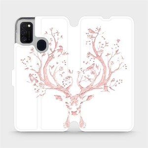 Flipové pouzdro Mobiwear na mobil Samsung Galaxy M21 - M007S Růžový jelínek