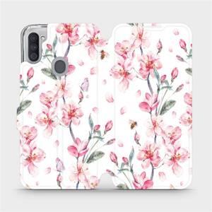 Flipové pouzdro Mobiwear na mobil Samsung Galaxy M11 - M124S Růžové květy