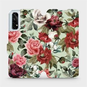 Flipové pouzdro Mobiwear na mobil Realme 7 - MD06P Růže a květy na světle zeleném pozadí