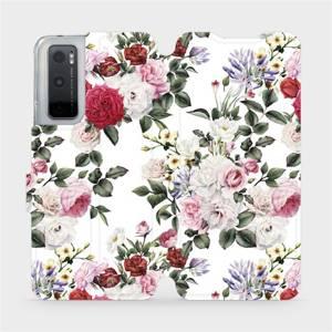 Flipové pouzdro Mobiwear na mobil Vivo Y70 - MD01S Růže na bílé