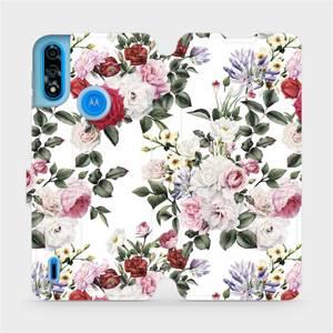 Flipové pouzdro Mobiwear na mobil Motorola Moto E7i Power - MD01S Růže na bílé