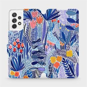 Flip pouzdro Mobiwear na mobil Samsung Galaxy A72 - MP03P Modrá květena