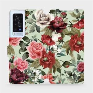 Flip pouzdro Mobiwear na mobil Vivo X60 Pro 5G - MD06P Růže a květy na světle zeleném pozadí