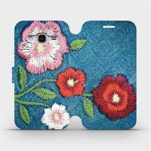 Flipové pouzdro Mobiwear na mobil Samsung Galaxy J3 2016 - MD05P Džínové květy