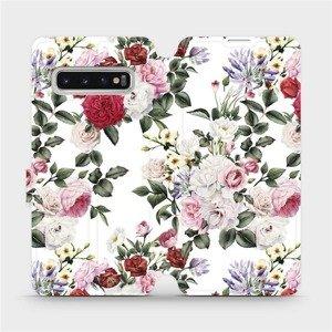 Flipové pouzdro Mobiwear na mobil Samsung Galaxy S10 - MD01S Růže na bílé