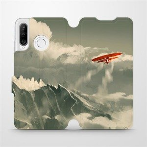 Flipové pouzdro Mobiwear na mobil Huawei P30 Lite - MA03P Oranžové letadlo v horách