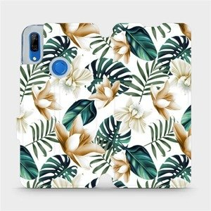 Flipové pouzdro Mobiwear na mobil Huawei P Smart Z - MC07P Zlatavé květy a zelené listy