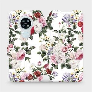 Flipové pouzdro Mobiwear na mobil Nokia 6.2 - MD01S Růže na bílé
