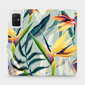Flipové pouzdro Mobiwear na mobil Samsung Galaxy A51 - MC02S Žluté velké květy a zelené listy