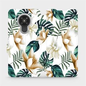 Flipové pouzdro Mobiwear na mobil Nokia 5.3 - MC07P Zlatavé květy a zelené listy
