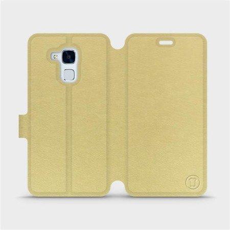 Parádní flip pouzdro Mobiwear na mobil Honor 7 Lite v provedení C_GOP Gold&Orange s oranžovým vnitřkem