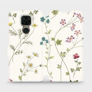 Flipové pouzdro Mobiwear na mobil Xiaomi Redmi Note 9 - MD03S Tenké rostlinky s květy