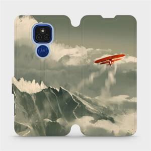 Flipové pouzdro Mobiwear na mobil Motorola Moto E7 Plus - MA03P Oranžové letadlo v horách