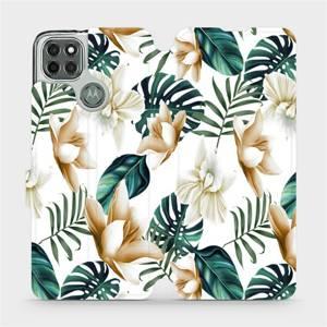 Flipové pouzdro Mobiwear na mobil Motorola Moto G9 Power - MC07P Zlatavé květy a zelené listy