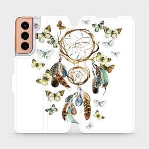 Flipové pouzdro Mobiwear na mobil Samsung Galaxy S21 5G - M001P Lapač a motýlci