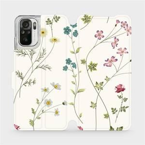 Flipové pouzdro Mobiwear na mobil Xiaomi Redmi Note 10 - MD03S Tenké rostlinky s květy