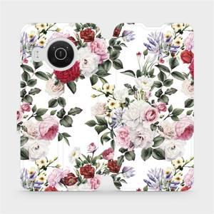 Flip pouzdro Mobiwear na mobil Nokia X10 - MD01S Růže na bílé
