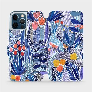 Flip pouzdro Mobiwear na mobil Apple iPhone 12 Pro Max - MP03P Modrá květena