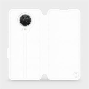 Flip pouzdro Mobiwear na mobil Nokia G20 v provedení C_WHP White&Orange s oranžovým vnitřkem