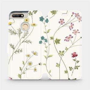 Flipové pouzdro Mobiwear na mobil Huawei Y6 Prime 2018 - MD03S Tenké rostlinky s květy