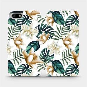 Flipové pouzdro Mobiwear na mobil Honor 7S - MC07P Zlatavé květy a zelené listy