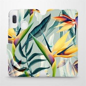 Flipové pouzdro Mobiwear na mobil Samsung Galaxy A20e - MC02S Žluté velké květy a zelené listy