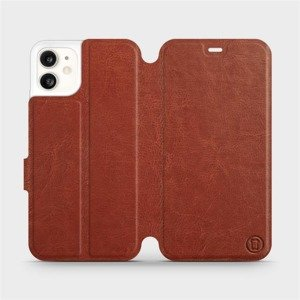 Flipové pouzdro Mobiwear na mobil Apple iPhone 11 v provedení C_BRS Brown&Gray s šedým vnitřkem