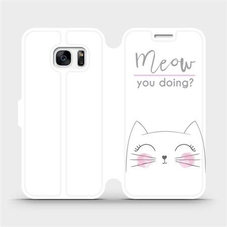 Flipové pouzdro Mobiwear na mobil Samsung Galaxy S7 Edge - M098P Meow you doing?