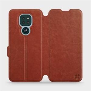 Flipové pouzdro Mobiwear na mobil Motorola Moto G9 Play v provedení C_BRP Brown&Orange s oranžovým vnitřkem