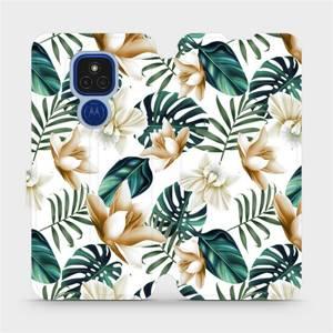 Flipové pouzdro Mobiwear na mobil Motorola Moto E7 Plus - MC07P Zlatavé květy a zelené listy