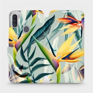 Flipové pouzdro Mobiwear na mobil Samsung Galaxy M11 - MC02S Žluté velké květy a zelené listy