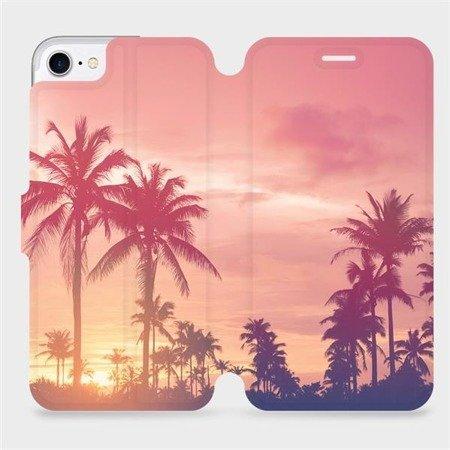 Flipové pouzdro Mobiwear na mobil Apple iPhone 7 - M134P Palmy a růžová obloha