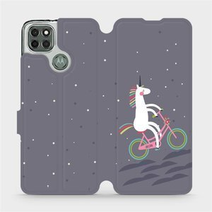 Flipové pouzdro Mobiwear na mobil Motorola Moto G9 Power - V024P Jednorožec na kole