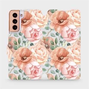 Flip pouzdro Mobiwear na mobil Samsung Galaxy S21 - MP02S Pastelové květy