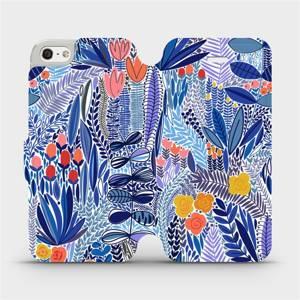 Flip pouzdro Mobiwear na mobil Apple iPhone SE / iPhone 5 / iPhone 5S - MP03P Modrá květena