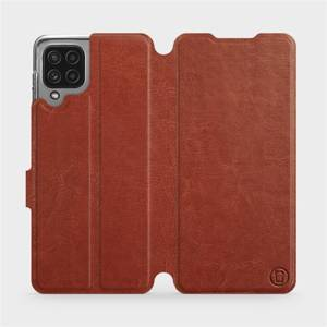 Flip pouzdro Mobiwear na mobil Samsung Galaxy M22 v provedení C_BRP Brown&Orange s oranžovým vnitřkem