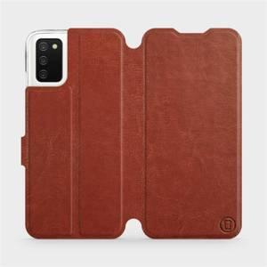 Flip pouzdro Mobiwear na mobil Samsung Galaxy A03s v provedení C_BRP Brown&Orange s oranžovým vnitřkem
