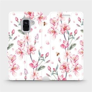 Flipové pouzdro Mobiwear na mobil Samsung Galaxy A8 2018 - M124S Růžové květy