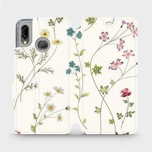 Flipové pouzdro Mobiwear na mobil Huawei P20 Lite - MD03S Tenké rostlinky s květy