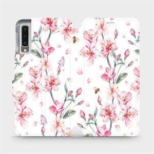 Flipové pouzdro Mobiwear na mobil Samsung Galaxy A7 2018 - M124S Růžové květy