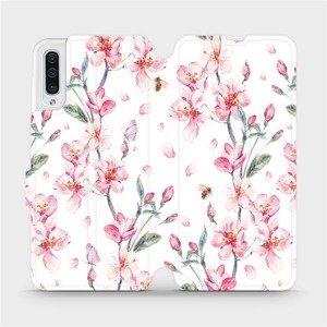 Flipové pouzdro Mobiwear na mobil Samsung Galaxy A50 - M124S Růžové květy