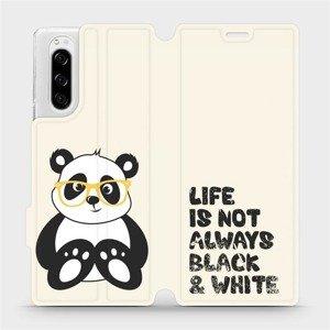 Flipové pouzdro Mobiwear na mobil Sony Xperia 5 - M041S Panda - life is not always black and white