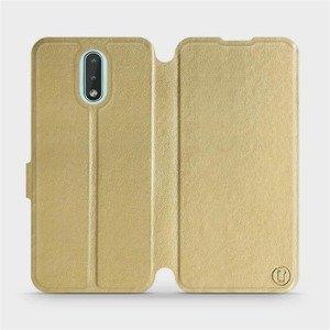 Flipové pouzdro Mobiwear na mobil Nokia 2.3 v provedení C_GOS Gold&Gray s šedým vnitřkem
