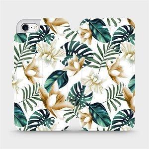 Flipové pouzdro Mobiwear na mobil Apple iPhone SE 2020 - MC07P Zlatavé květy a zelené listy