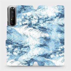 Flipové pouzdro Mobiwear na mobil Sony Xperia 1 II - M058S Světle modrá horizontální pírka