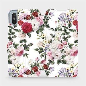 Flipové pouzdro Mobiwear na mobil Xiaomi Redmi 9A - MD01S Růže na bílé
