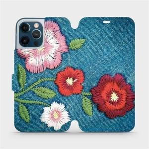 Flipové pouzdro Mobiwear na mobil Apple iPhone 12 Pro Max - MD05P Džínové květy