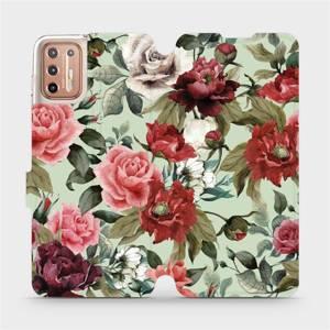 Flipové pouzdro Mobiwear na mobil Motorola Moto G9 Plus - MD06P Růže a květy na světle zeleném pozadí